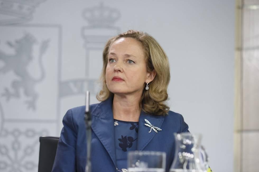 Nadia Calviño, tras el Consejo de Ministros.
