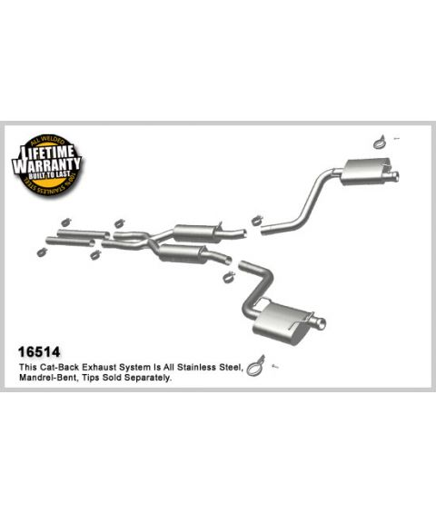 2009 2012 dodge challenger rt 5 7l v8 stainless cat back dual exhaust uses oem tips