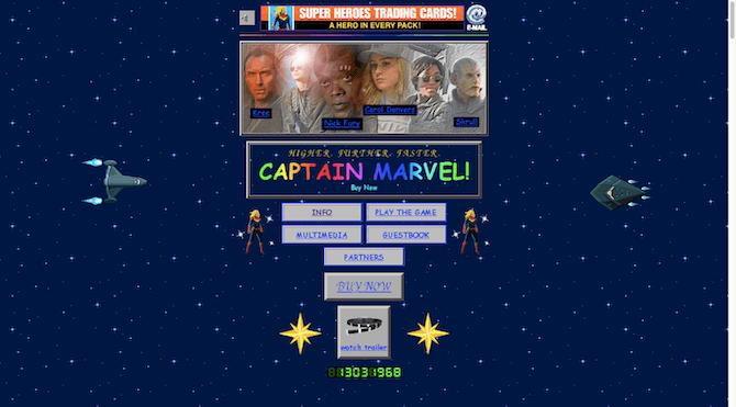 La page de destination de Captain Marvel ressemble à un site Web sorti des années 90, avec des couleurs néon, des animations gênantes, un son à lecture automatique et un compteur de visiteurs.