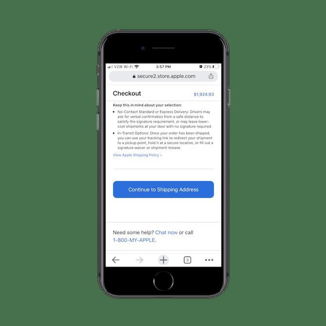 """Apple affiche des notes sur """"Livraison sans contact"""" et """"Options en transit"""" pour les utilisateurs immédiatement après avoir sélectionné le type de livraison ou la méthode de ramassage qu'ils préfèrent."""