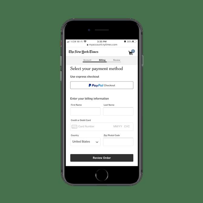 Les abonnés du New York Times peuvent utilisez le paiement express avec PayPal Checkout ou ils peuvent entrer leurs informations de facturation à partir de zéro.