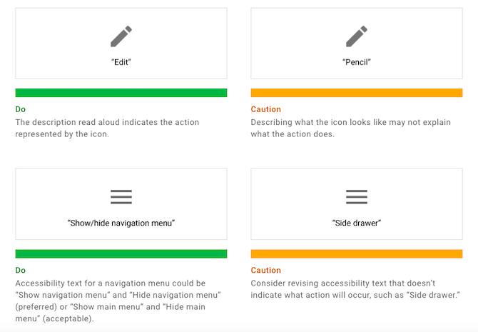 """Material Design fournit des exemples montrant pourquoi il est important de créer le texte correspondant pour les boutons qui décrivent l'action et non l'apparence du bouton . Le premier exemple d'icône en forme de crayon montre l'option Faire comme """"Modifier"""" et Ne pas faire comme """"Crayon"""". Le deuxième exemple de menu hamburger montre la commande Faire comme «Afficher / masquer le menu de navigation» et Ne pas faire comme «Tiroir latéral»."""