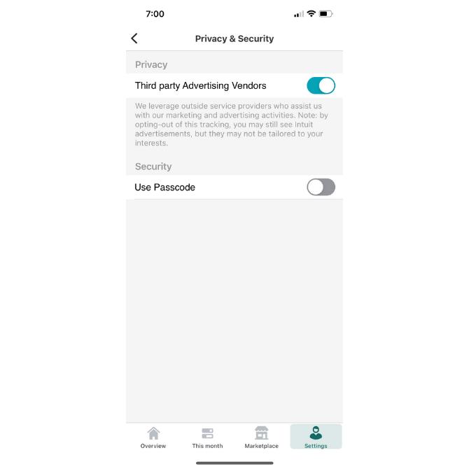 Mint permet aux utilisateurs de décider s'ils souhaitent voir des publicités tierces personnalisées dans l'application en fonction de leurs données.