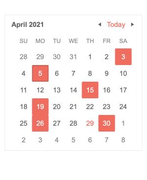 Dans un simple calendrier général d'avril 2021, certaines dates sont mises en évidence par un encadré rose: 3, 5, 15, 19, 26, 30.