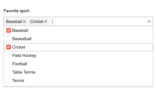 Sous «Sport favori», une barre de recherche contient deux éléments: le baseball et le cricket. Ci-dessous, ces deux éléments sont cochés dans une liste alphabétique des autres sports qui ne sont pas cochés: basket-ball, hockey sur gazon, football, etc.