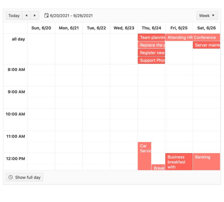 """Sur une vue de calendrier hebdomadaire, quelques agendas les éléments sont rose plus foncé, indiquant qu'ils ont été sélectionnés. """"title ="""" Composant KendoReact Scheduler - Sélection d'événements multiples"""