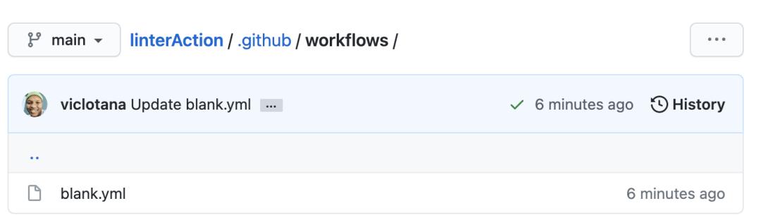 Le modèle vierge a été sélectionné dans les workflows d'action GitHub.