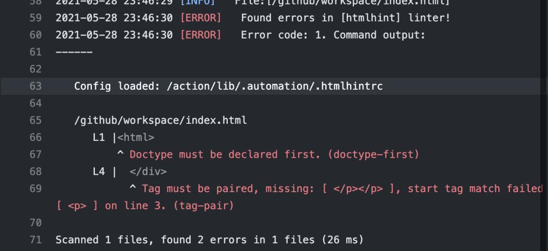 Erreurs trouvées dans [htmlhint] linter! Doctype doit être déclaré. La balise doit être associée.