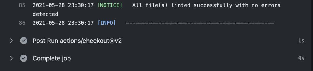 Tous les fichiers ont été lints avec succès sans erreur détectée.