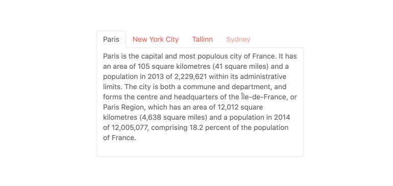 Kendo UI pour Vue TabStrip - Présentation - onglets en haut de la liste, Paris, New York City, Tallinn et Sydney. Nous sommes sur Paris, et il y a un paragraphe sur la ville.