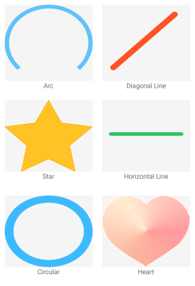 Path Overview montrant des exemples d'arc, de diagonale, d'étoile, de ligne horizontale, de circulaire et de cœur.