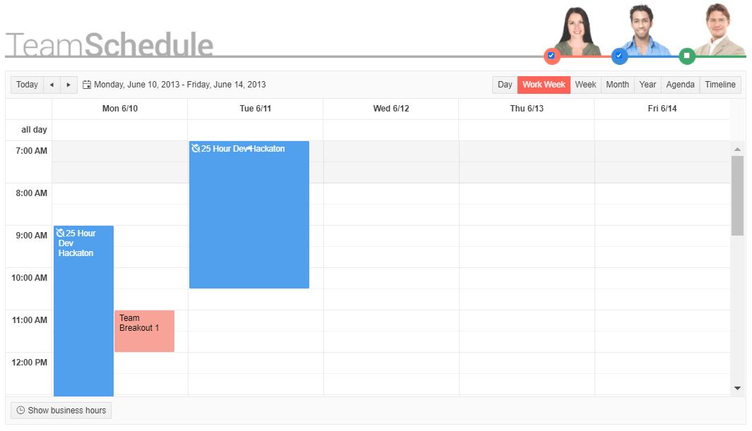 Dans un calendrier d'équipe hebdomadaire, un hackathon de développement de 25 heures est présenté comme un événement se déroulant dans une barre verticale de 9 heures du lundi à 10 heures le mardi.