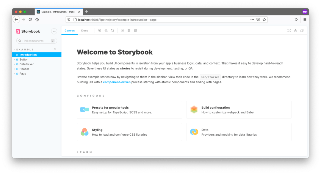 Default Storybook look. Navigation on the left. Main window shows 'Welcome to Storybook' and includes some options below Configure and Learn.