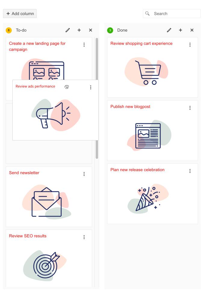 Deux listes verticales côte à côte montrent des cartes empilées avec de grandes icônes. La liste des tâches à faire sur la gauche comporte une carte «Examiner les performances des annonces» qui est saisie et déplacée - peut-être vers la liste Terminé sur la droite.