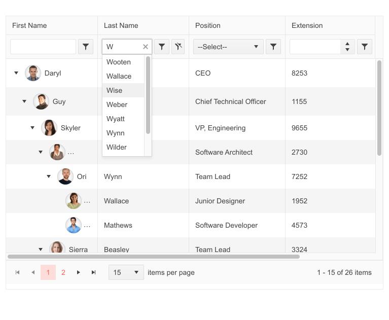 La colonne Last Name affiche une recherche intelligente lorsque l'utilisateur tape W ...