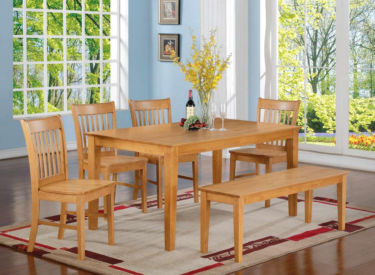 Dining room set w wood bench in oak at efurnituremart for Dining room ideas with oak furniture