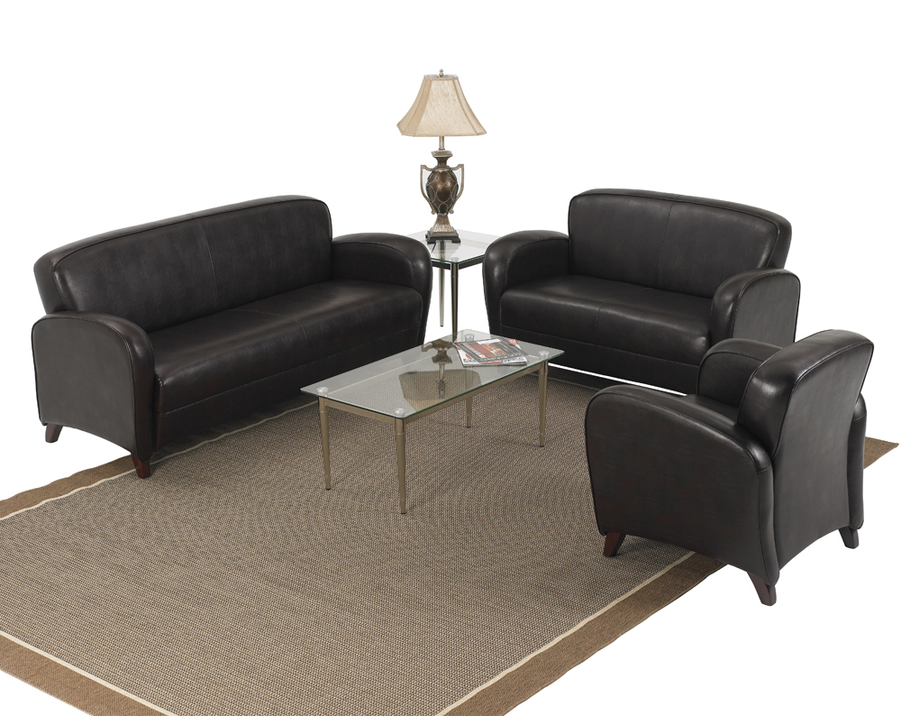 Office Star Products Mocha Eco Leather 3 Piece Living Room