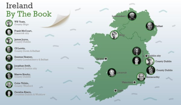 Literary map of Ireland Part 1: Where the authors, and ...