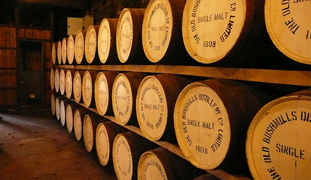 Barrels at Old Bushmills Distillery