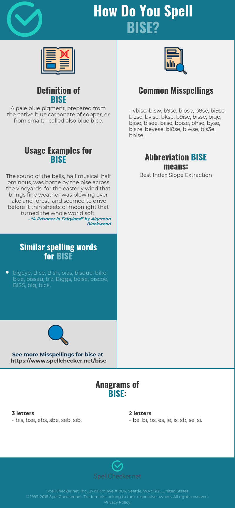 correct spelling for bise infographic
