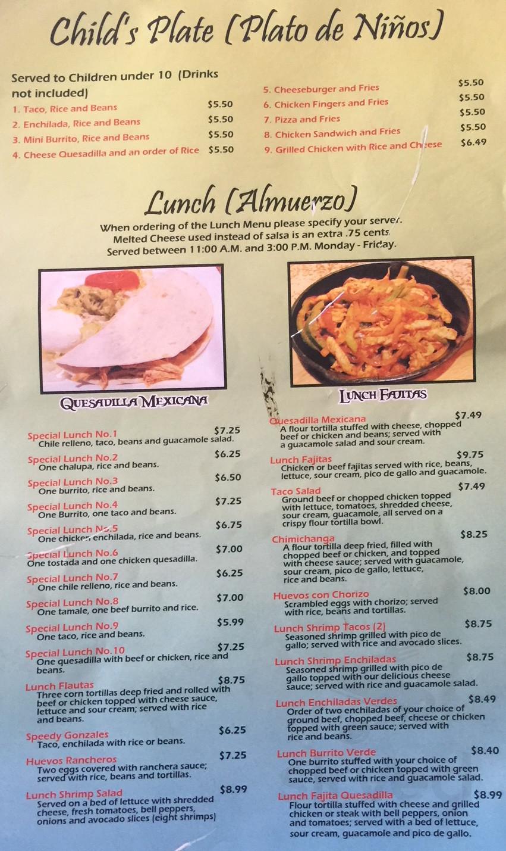 el patio mexican restaurant menu in