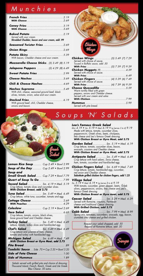 leos coney island menu in south lyon