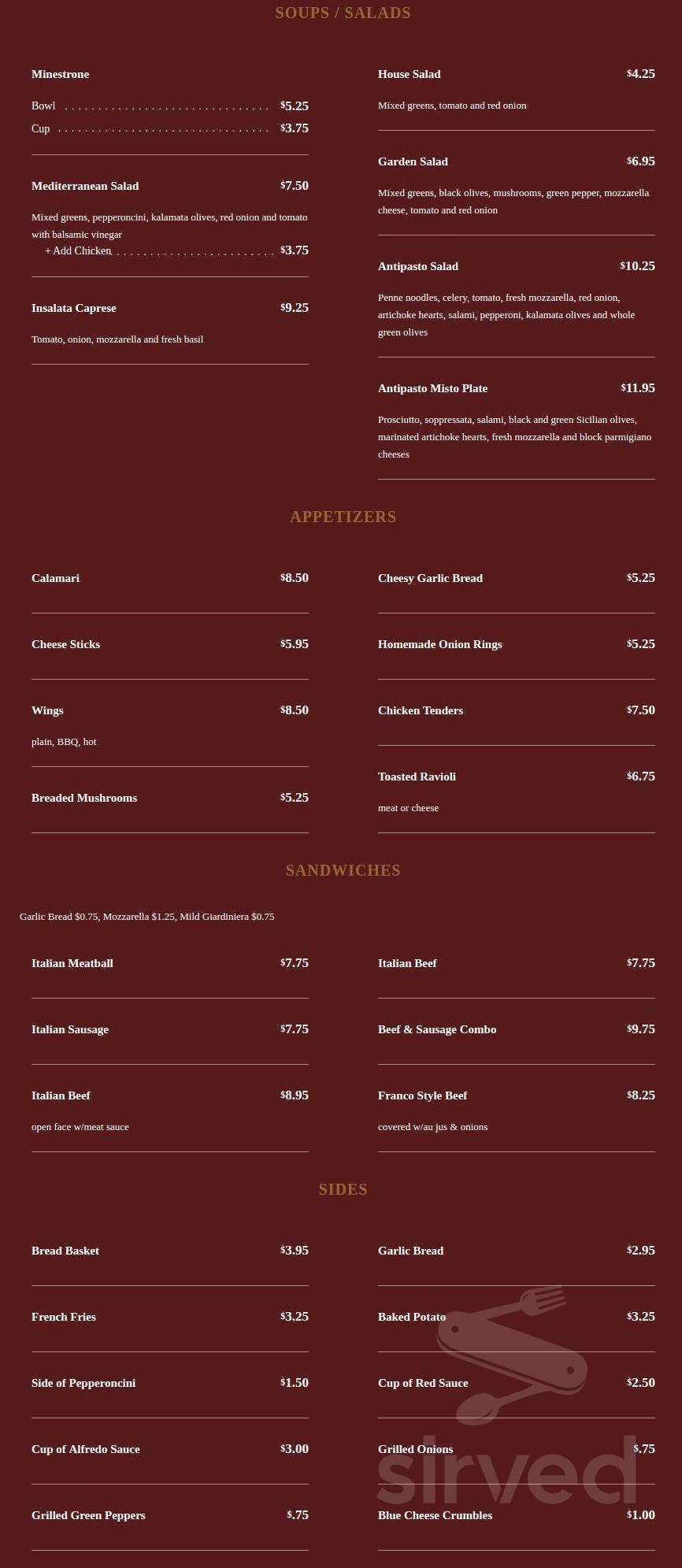 manzella s italian patio menu in