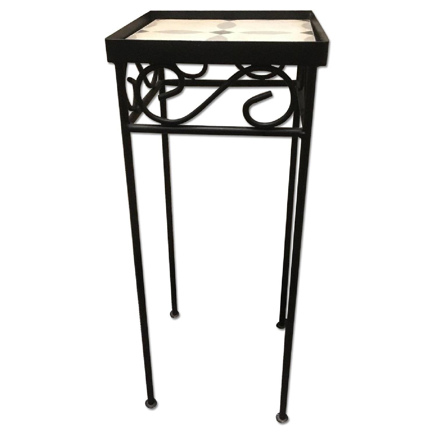 Small Wrought Iron Side Table W Gray Tile
