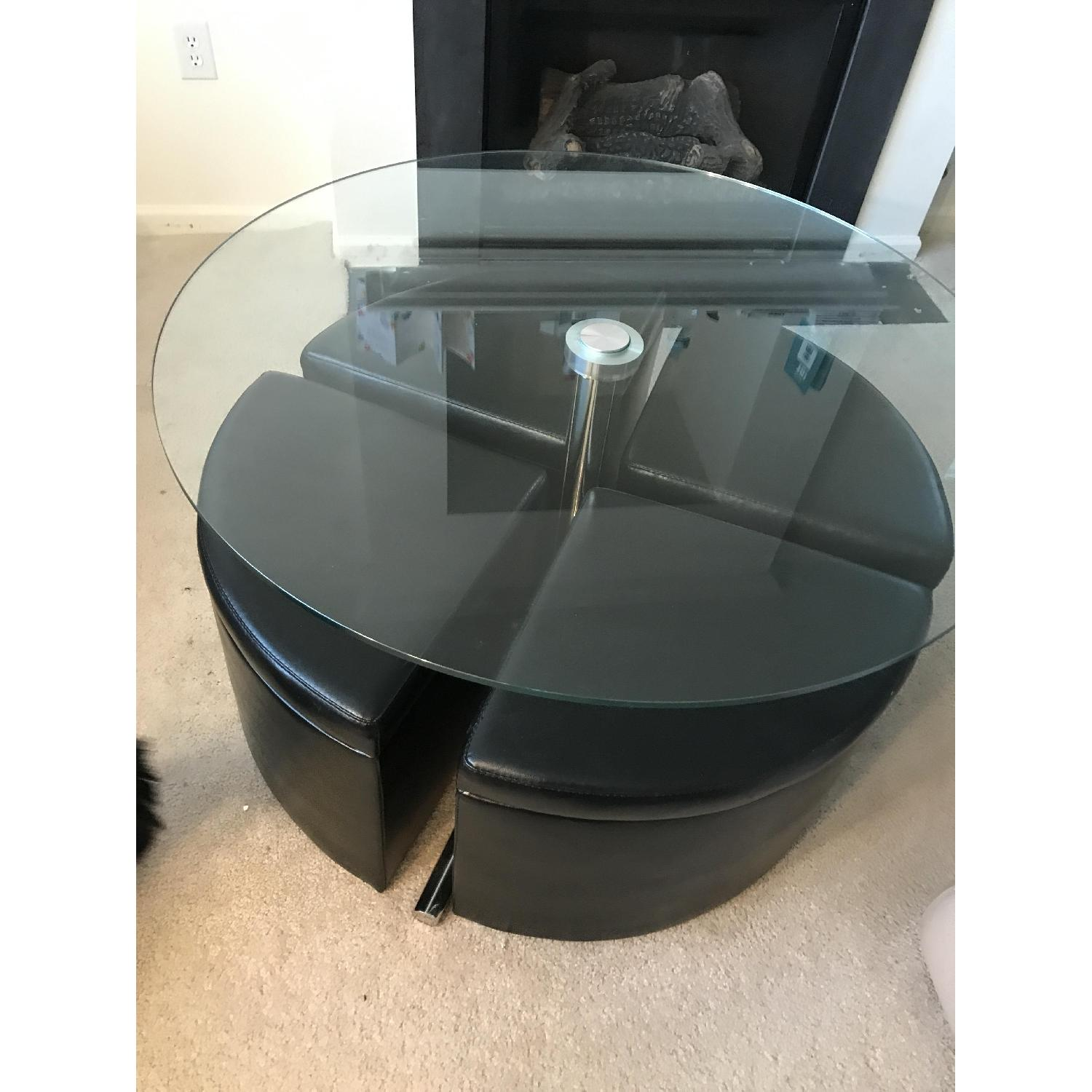bob s adjustable height round glass top coffee table w 4 storage ottomans