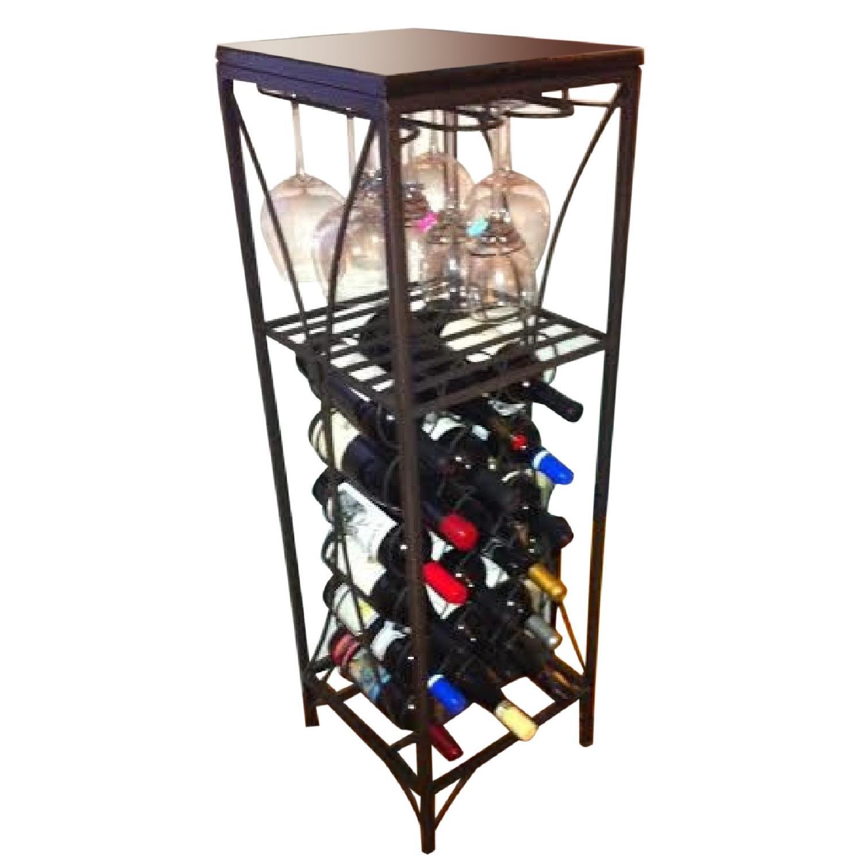 pier 1 imports black marble top wine pedestal wine rack