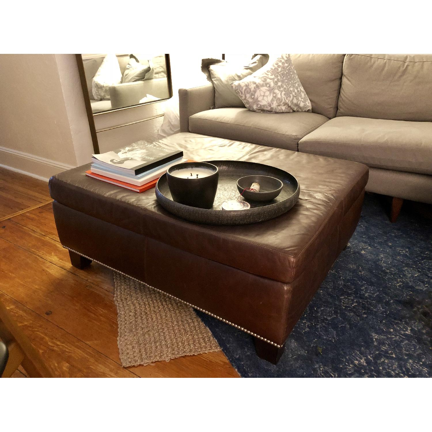 pottery barn leather ottoman coffee table