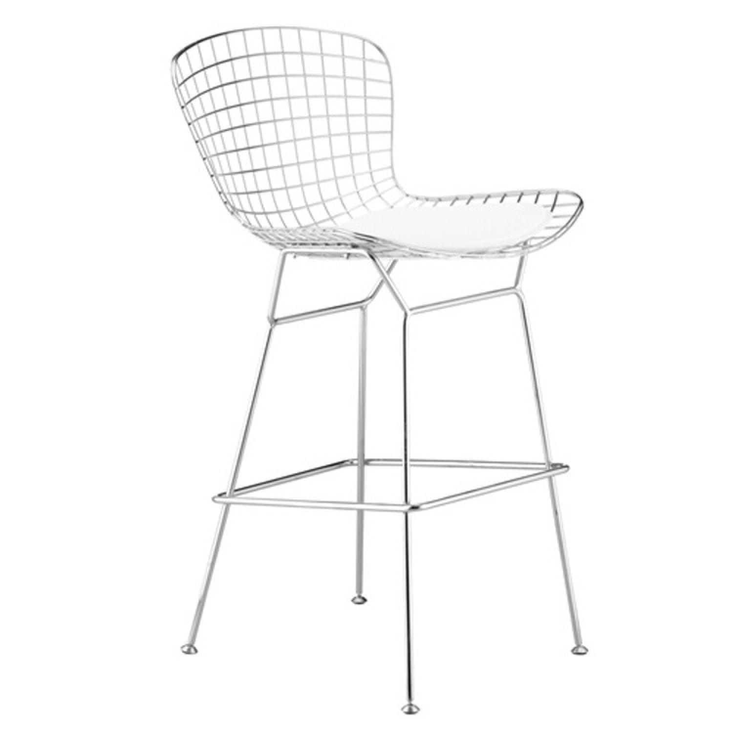 Retro Style Counter Height Wire Chair In Silver Finish