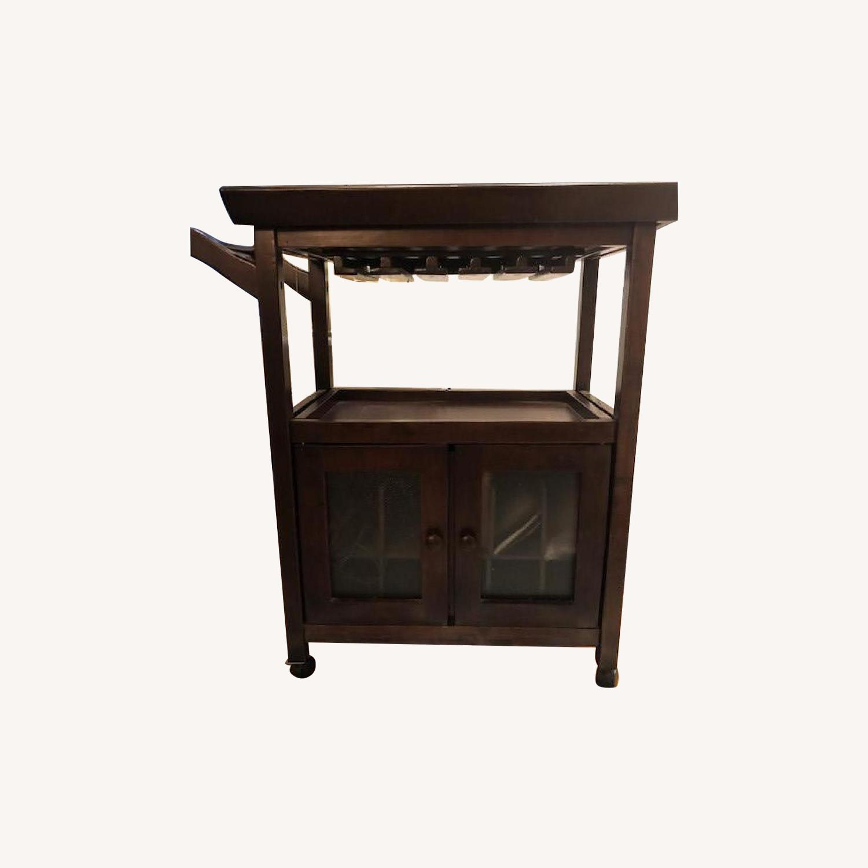 Gothic Cabinet Craft Dark Wood Bar Cart On Wheels Aptdeco