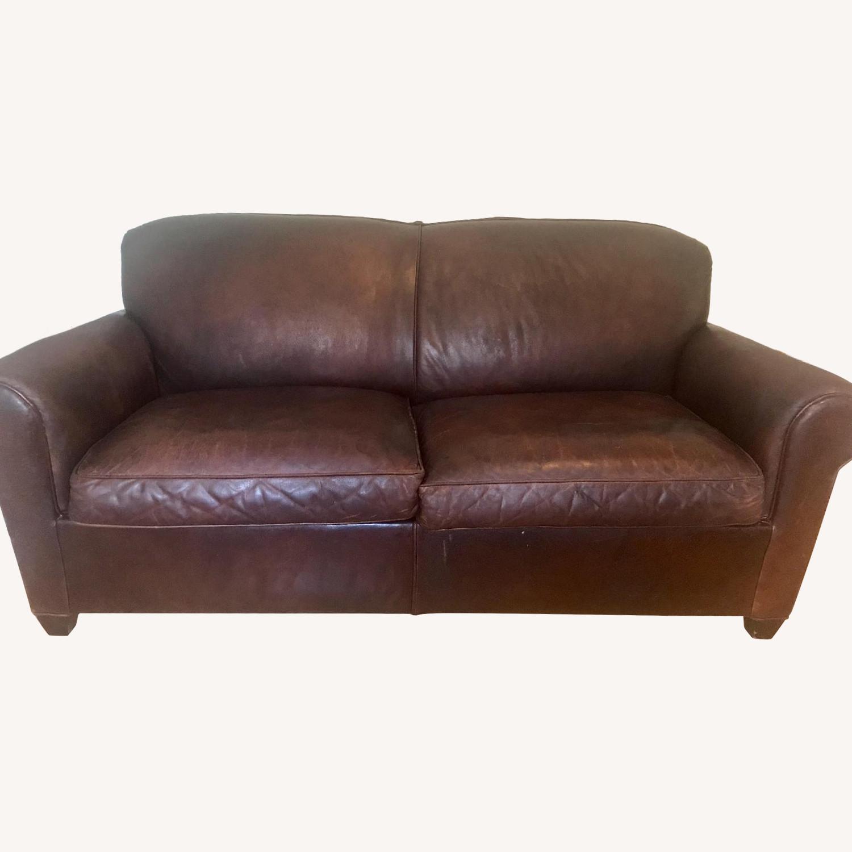 Crate Barrel Brown Leather Sleeper Sofa