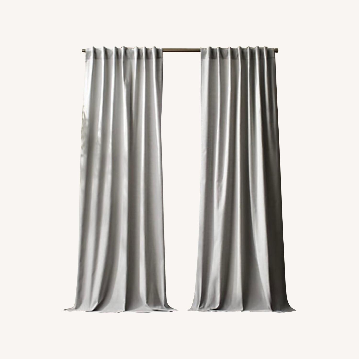cb2 ceiling pair of curtains and rod