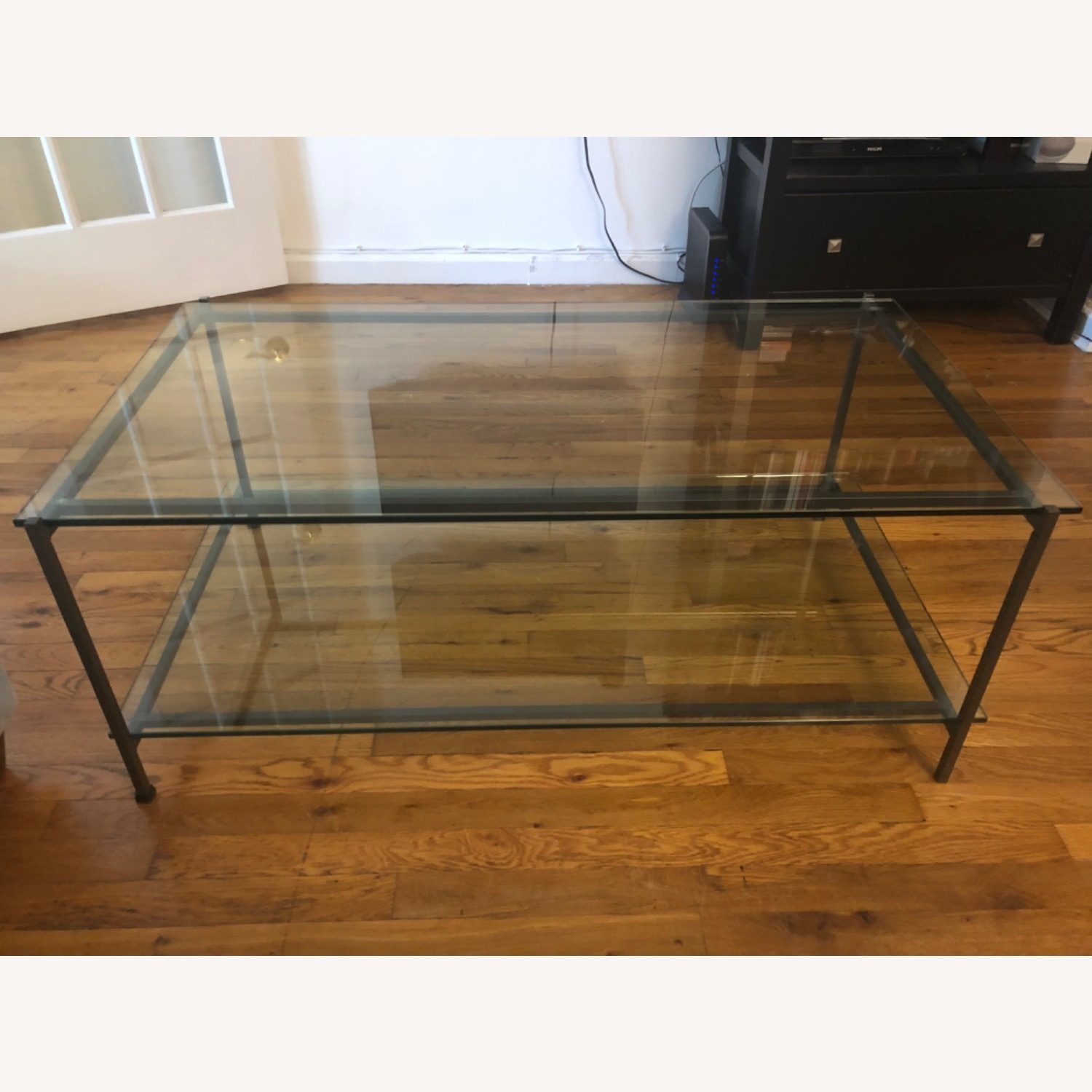 crate barrel glass coffee table