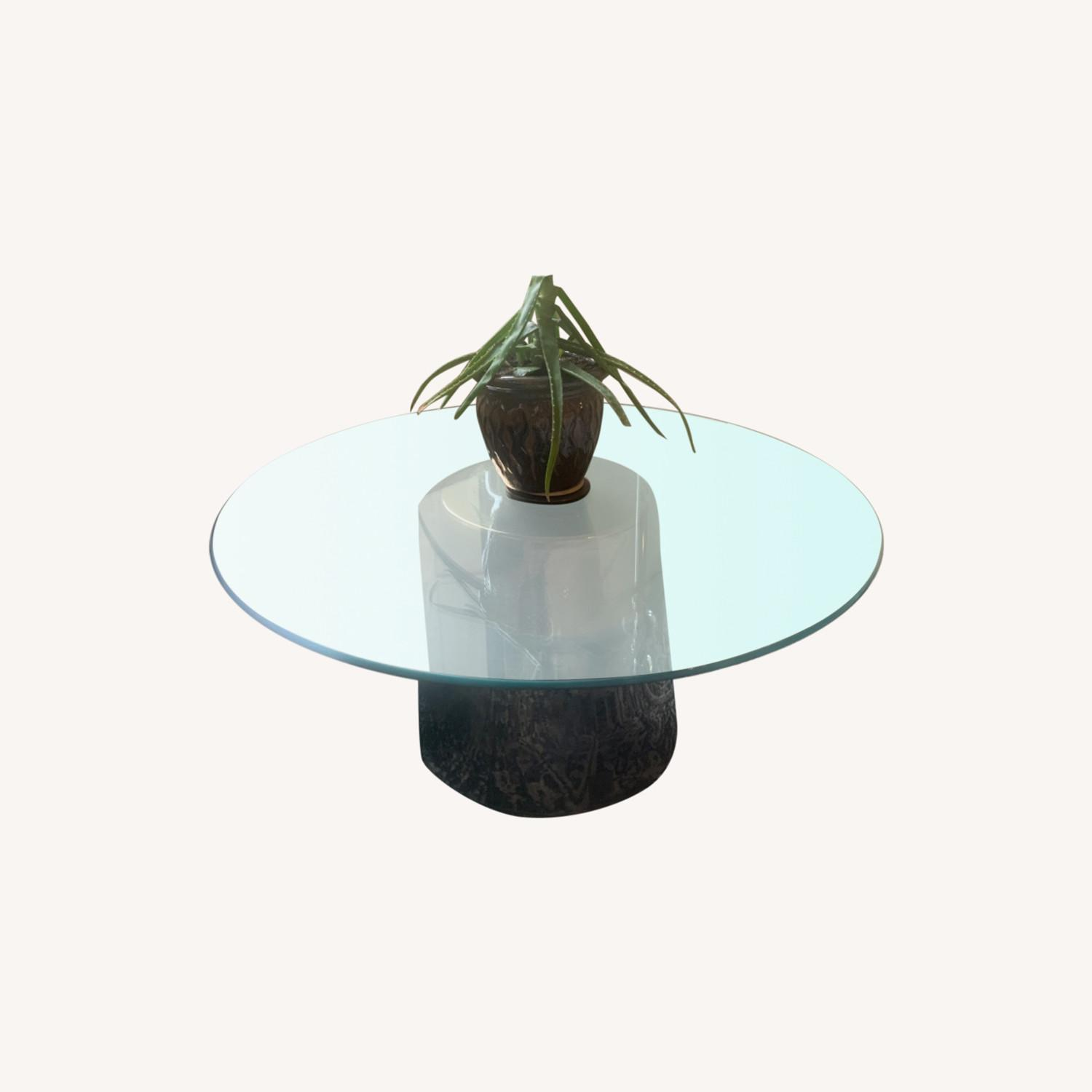 west elm round glass top metal base coffee table