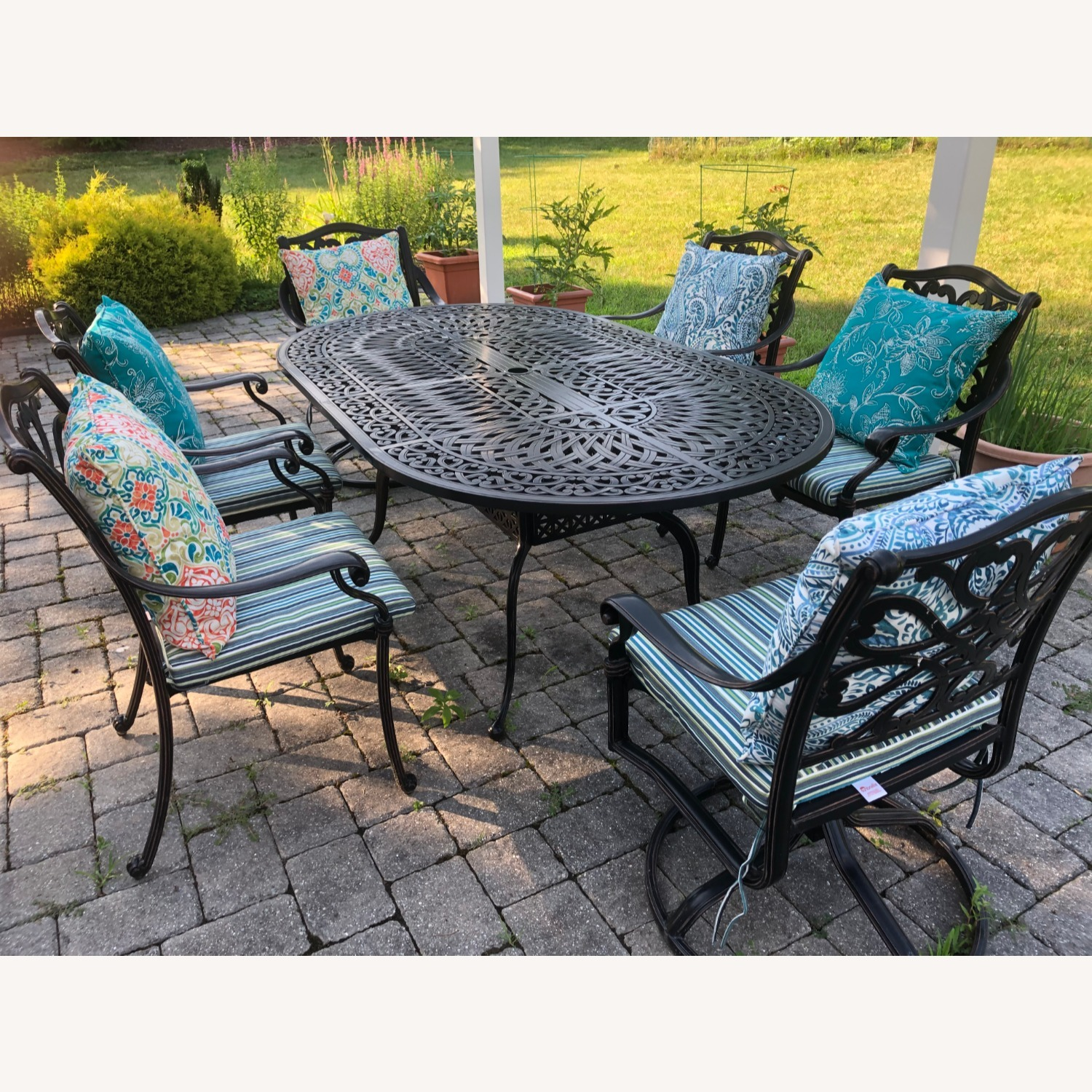 fortunoff outdoor dining set with umbrella