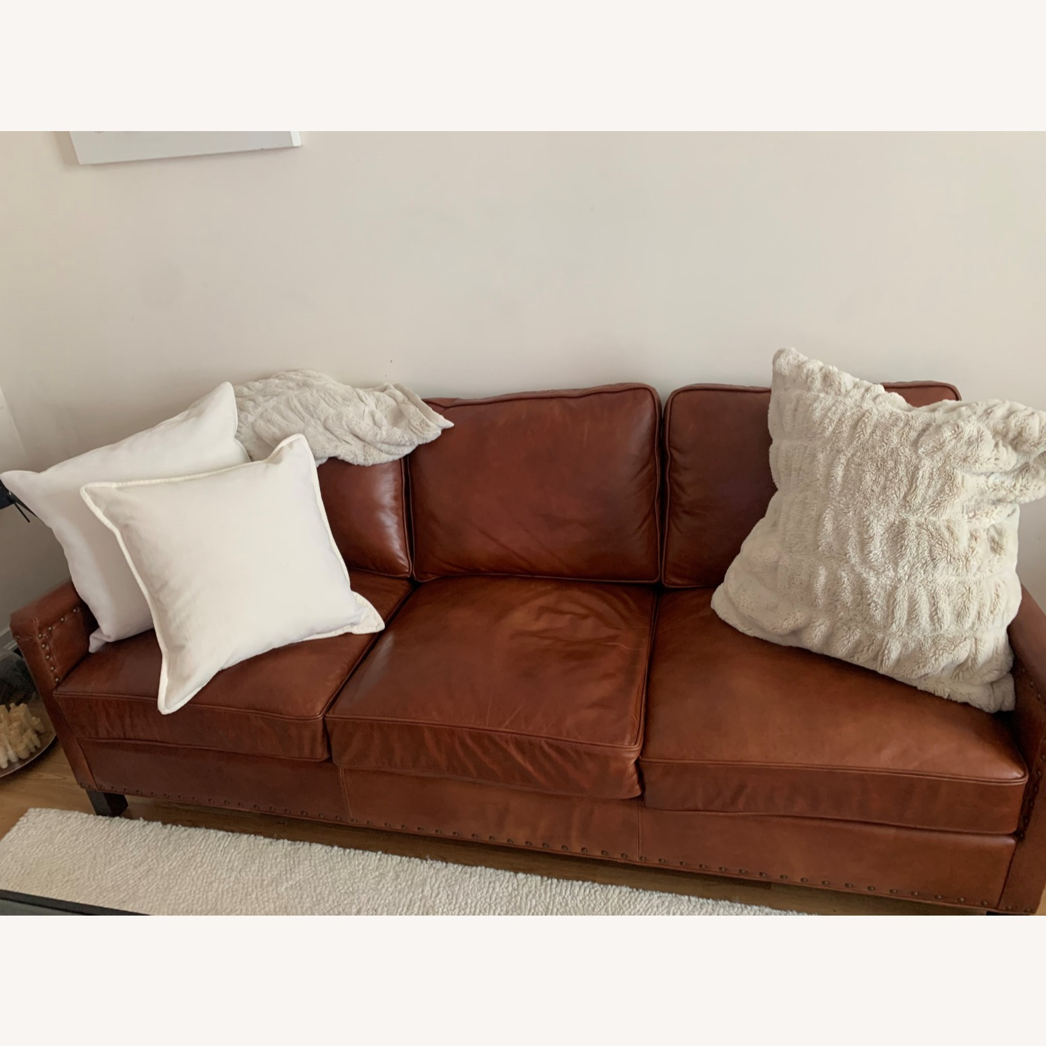 pottery barn leather sofa with nailheads