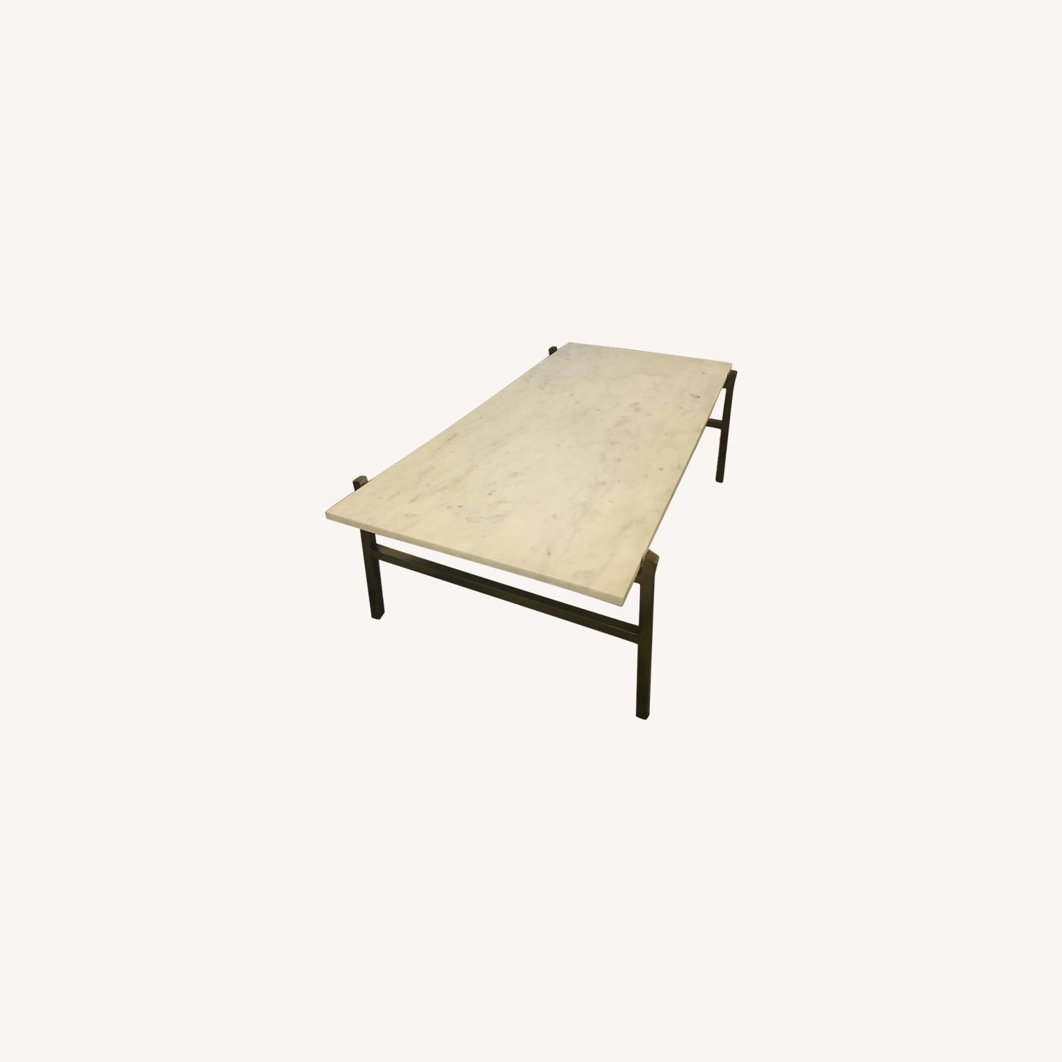 cb2 slab small marble coffee table with brass base