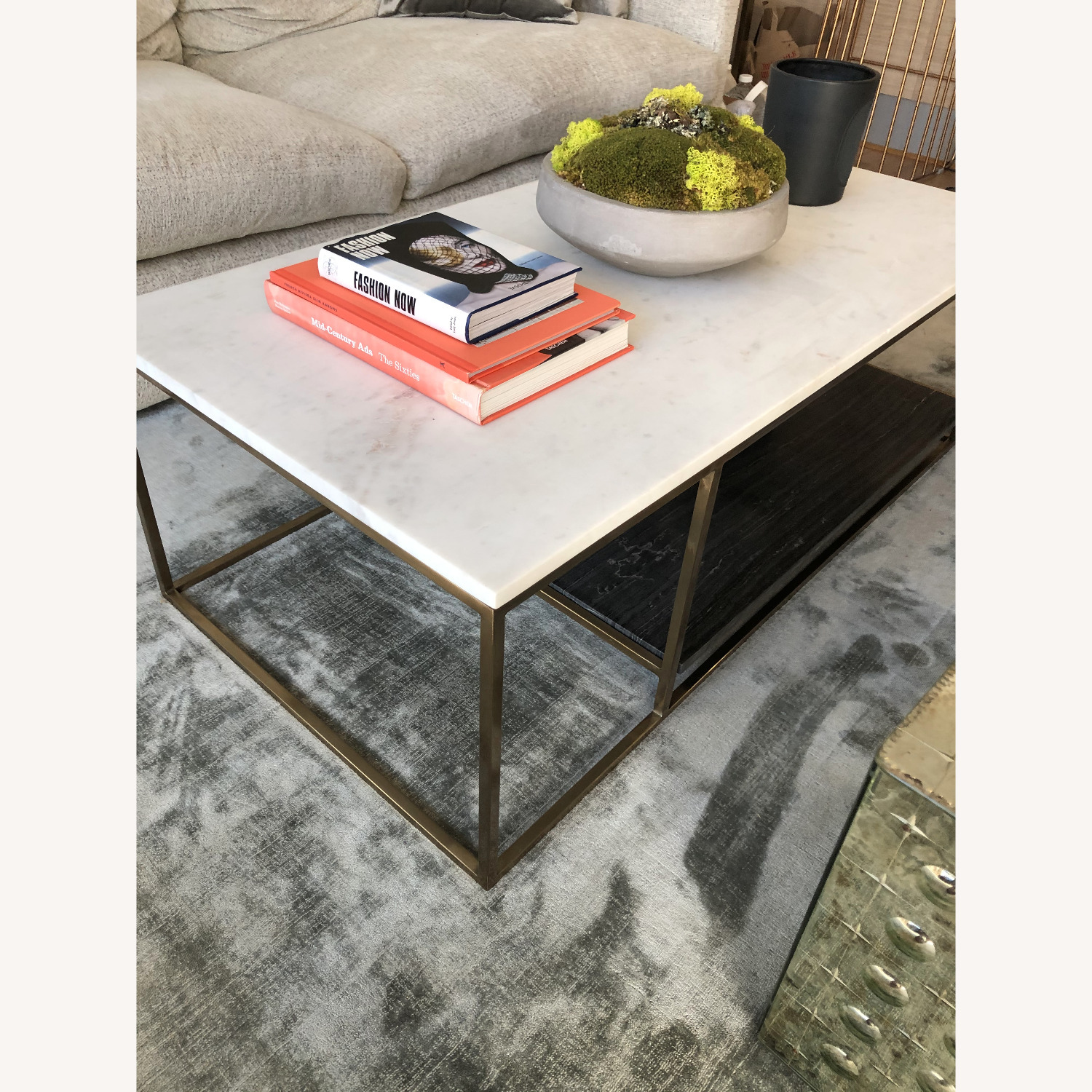 cb2 2 tone grey and white marble coffee table