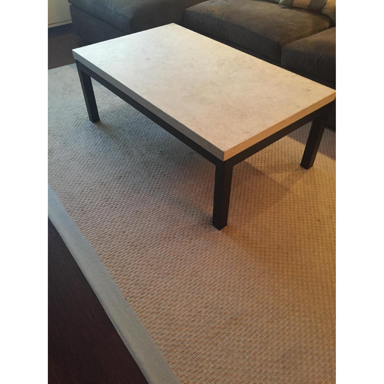crate barrel parsons travertine top dark steel base coffee table
