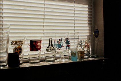 Shyam's collection of glasses from local craft breweries