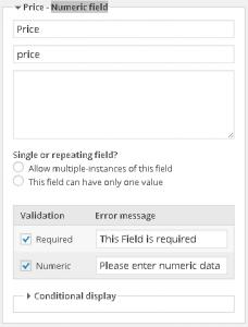 Price custom field