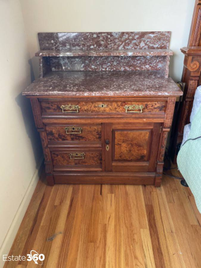 antique victorian eastlake marble top dry sink with burl wood drawer fronts