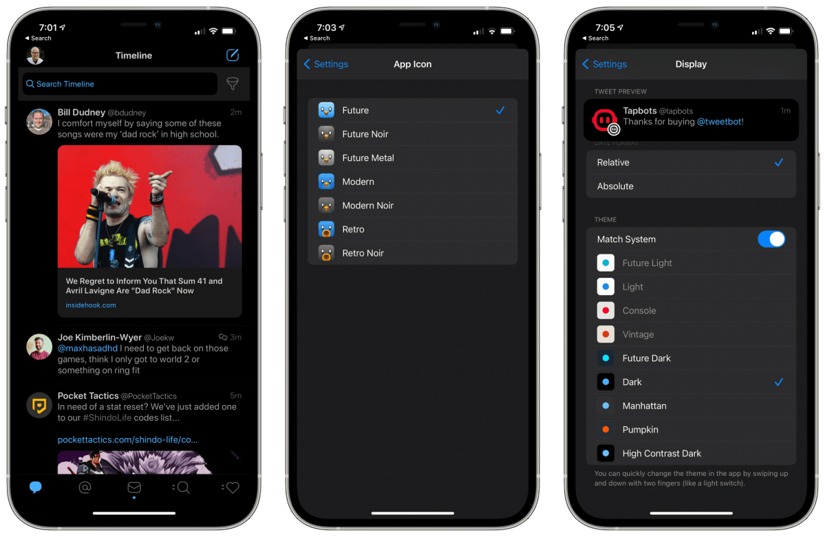 Tweetbot 6 includes new icons, themes, and other Settings updates.