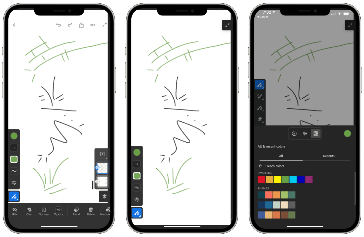 Turning up the smoothing of brushes when using Fresco on the iPhone makes drawing with your finger look nicer than it might otherwise.