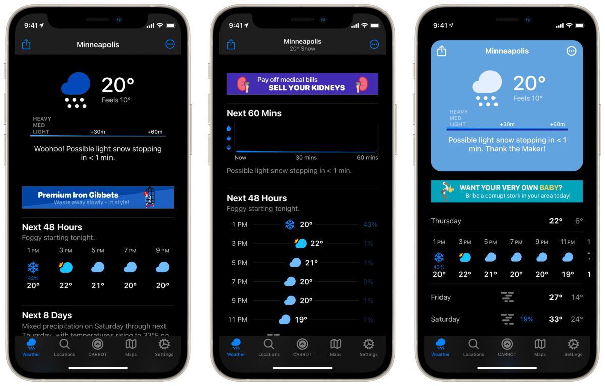 Some excellent fake banner ads in CARROT Weather 5
