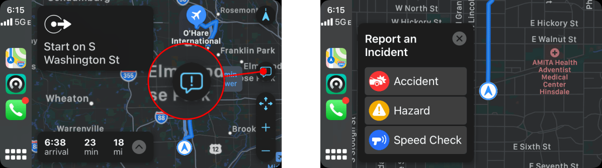 Submitting a report using CarPlay