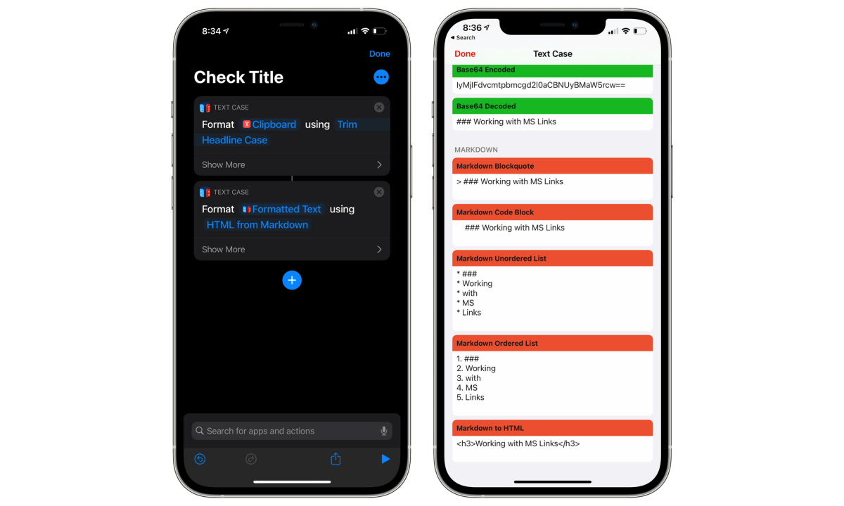 Flows are available as Shortcuts Actions and from the share sheet.